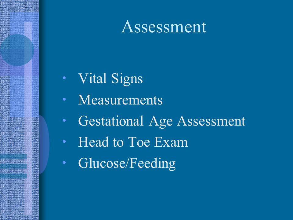 Assessment  Vital Signs  Measurements  Gestational Age Assessment  Head to Toe Exam  Glucose/Feeding