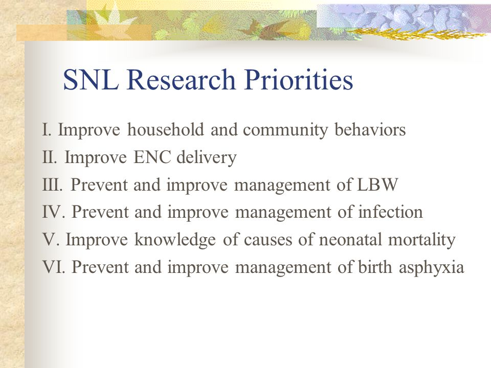 SNL Research Priorities I. Improve household and community behaviors II.