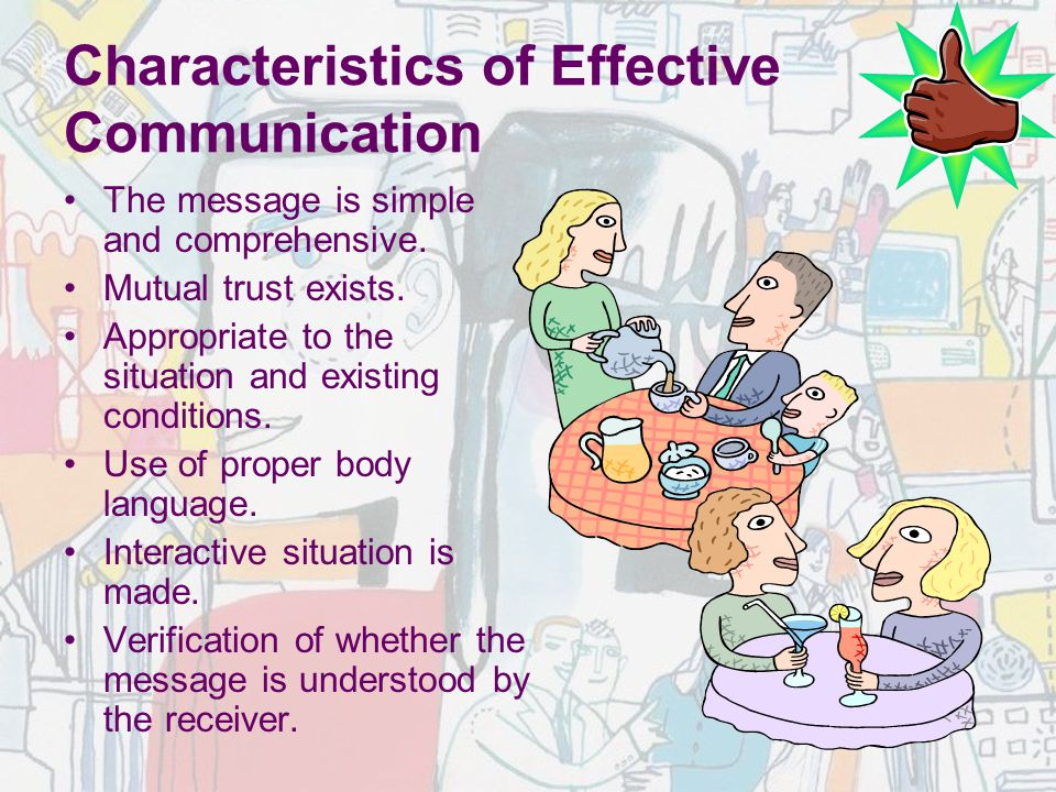 Characteristics of Effective Communication The message is simple and comprehensive. Mutual trust exists. Appropriate to the situation and existing con