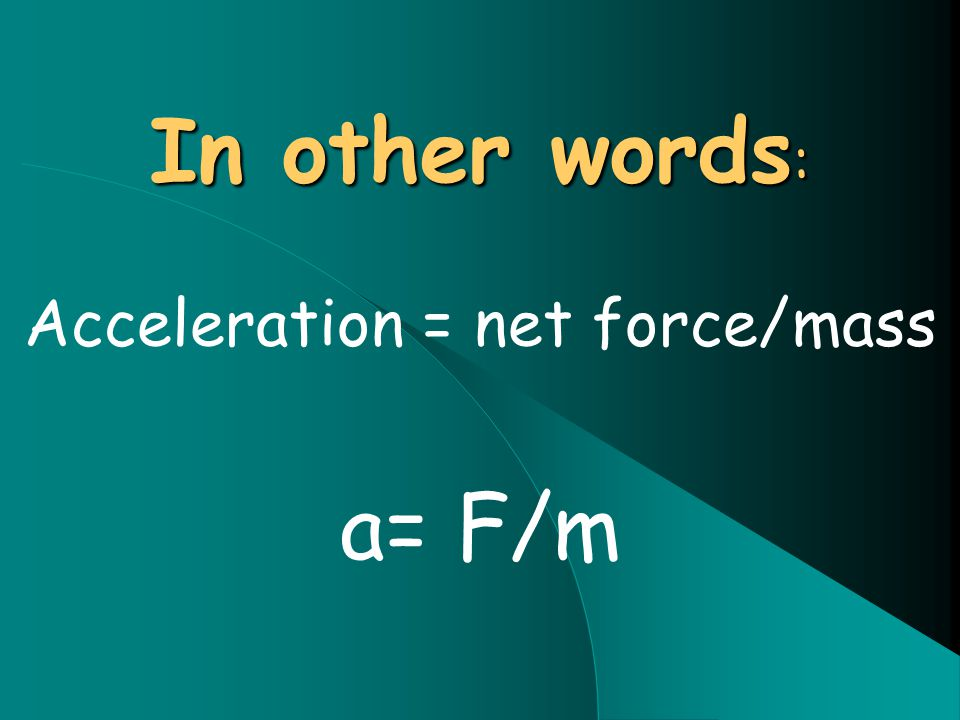 In other words : Acceleration = net force/mass a= F/m
