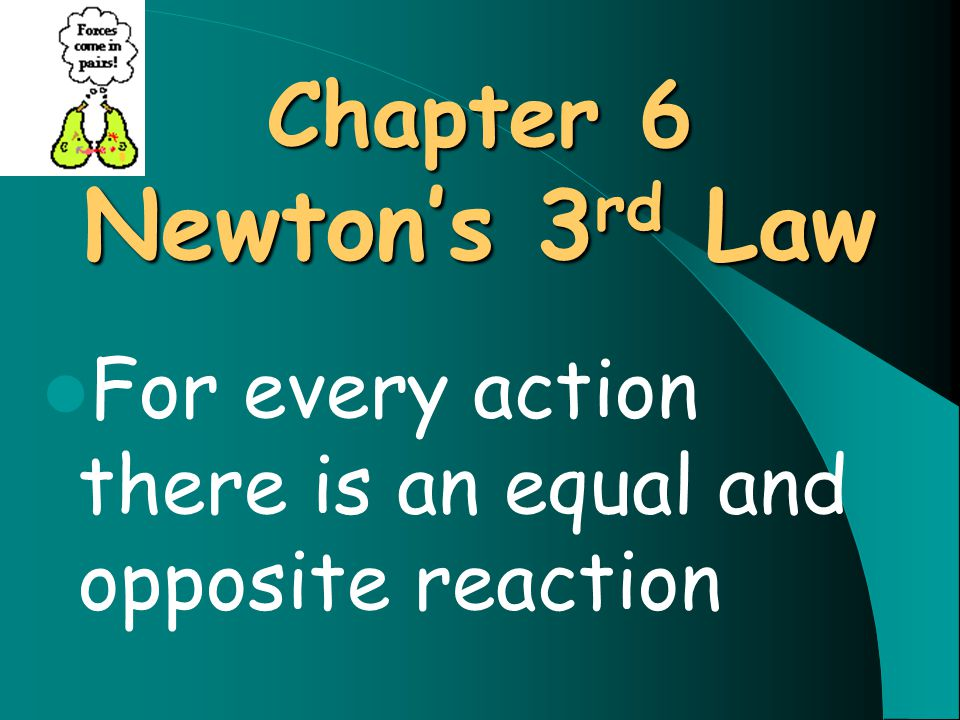 Chapter 6 Newton's 3 rd Law For every action there is an equal and opposite reaction