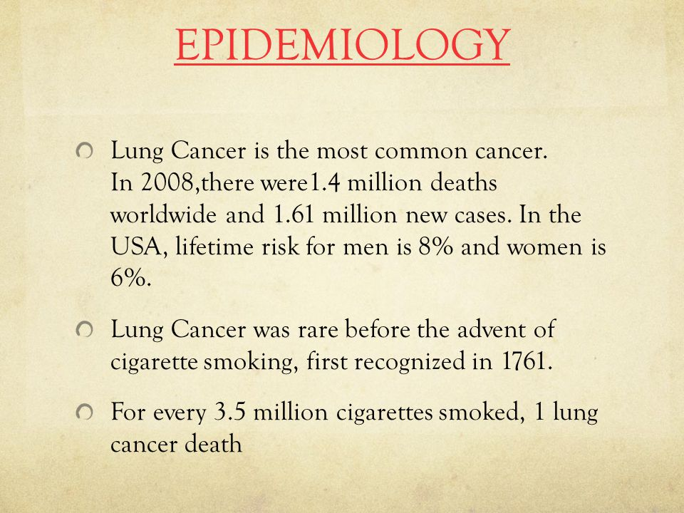 EPIDEMIOLOGY Lung Cancer is the most common cancer.