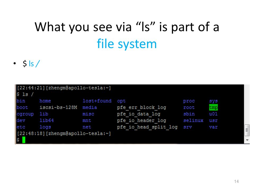 What you see via ls is part of a file system $ ls / 14