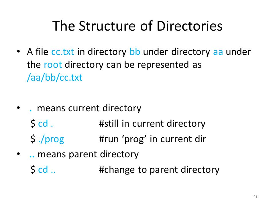 The Structure of Directories A file cc.txt in directory bb under directory aa under the root directory can be represented as /aa/bb/cc.txt.