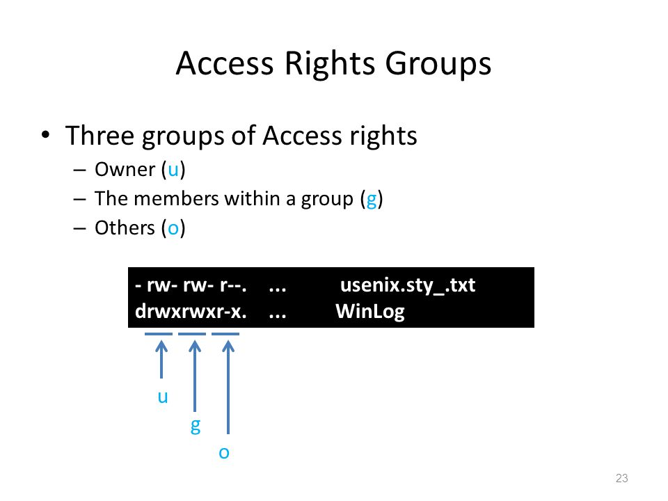 Three groups of Access rights – Owner (u) – The members within a group (g) – Others (o) Access Rights Groups - rw- rw- r--....