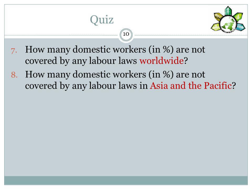 Quiz How many domestic workers (in %) are not covered by any labour laws worldwide.