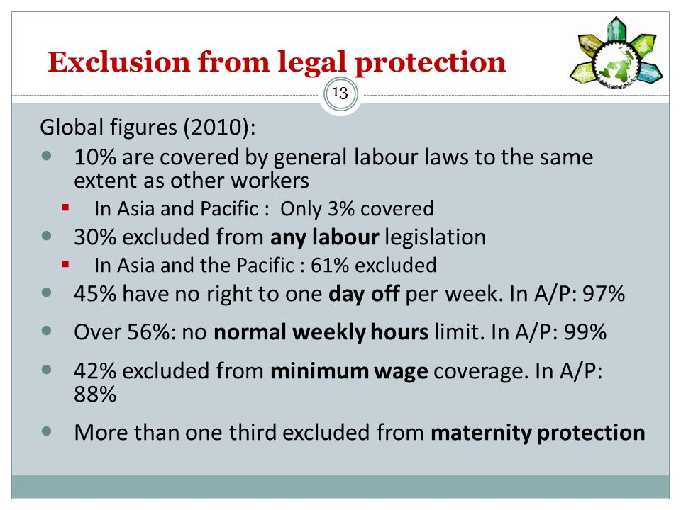 Exclusion from legal protection Global figures (2010): 10% are covered by general labour laws to the same extent as other workers  In Asia and Pacific : Only 3% covered 30% excluded from any labour legislation  In Asia and the Pacific : 61% excluded 45% have no right to one day off per week.