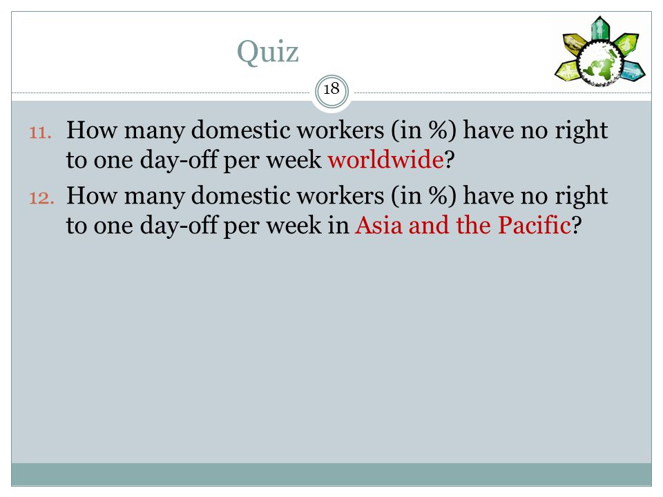 Quiz How many domestic workers (in %) have no right to one day-off per week worldwide.