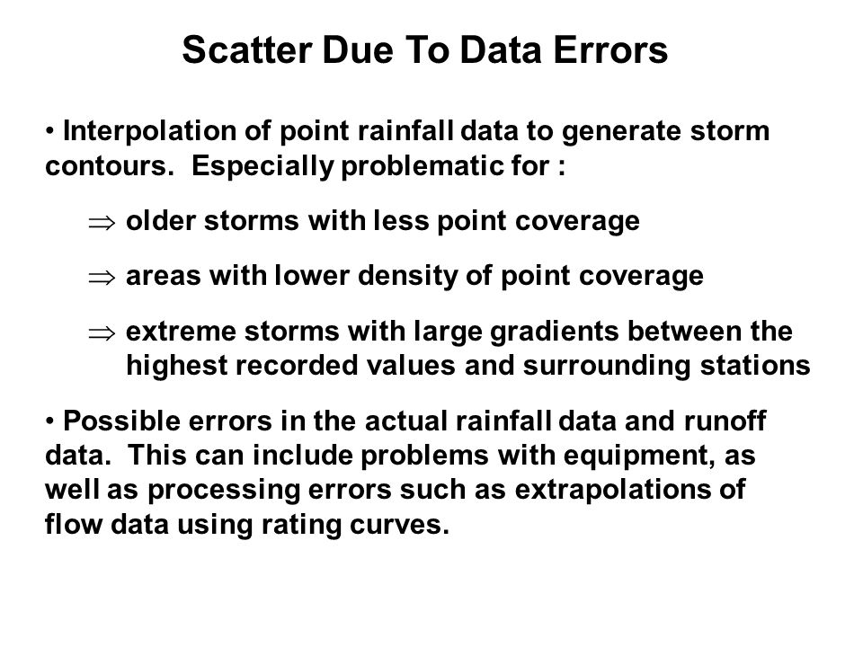 Scatter Due To Data Errors Interpolation of point rainfall data to generate storm contours.