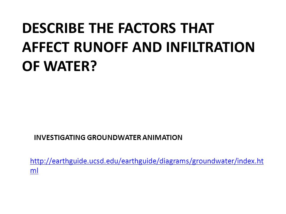 DESCRIBE THE FACTORS THAT AFFECT RUNOFF AND INFILTRATION OF WATER.