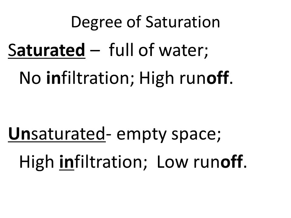 Degree of Saturation Saturated – full of water; No infiltration; High runoff.