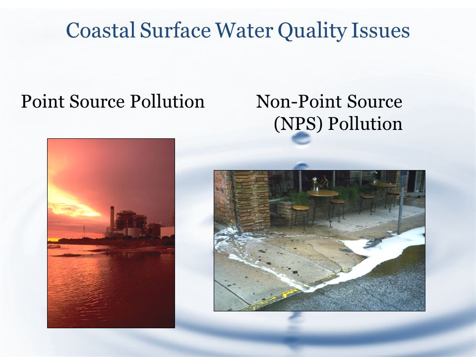 Coastal Surface Water Quality Issues Point Source PollutionNon-Point Source (NPS) Pollution