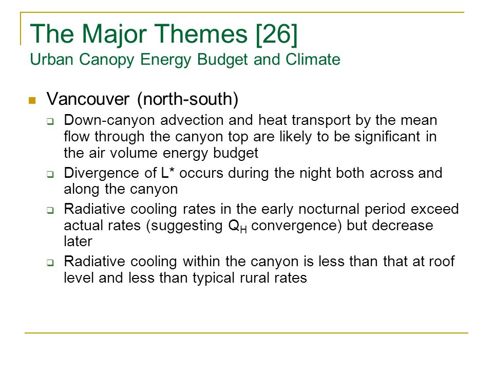 32 The Major Themes [26] Urban Canopy Energy ...  sc 1 st  SlidePlayer & How to do Urban Climatology: a Personal View of the Legacy of ...