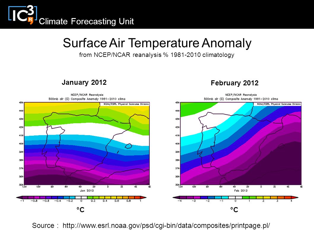 Climate Forecasting Unit Surface Air Temperature Anomaly from NCEP/NCAR reanalysis % climatology January 2012 February 2012 Source :   °C