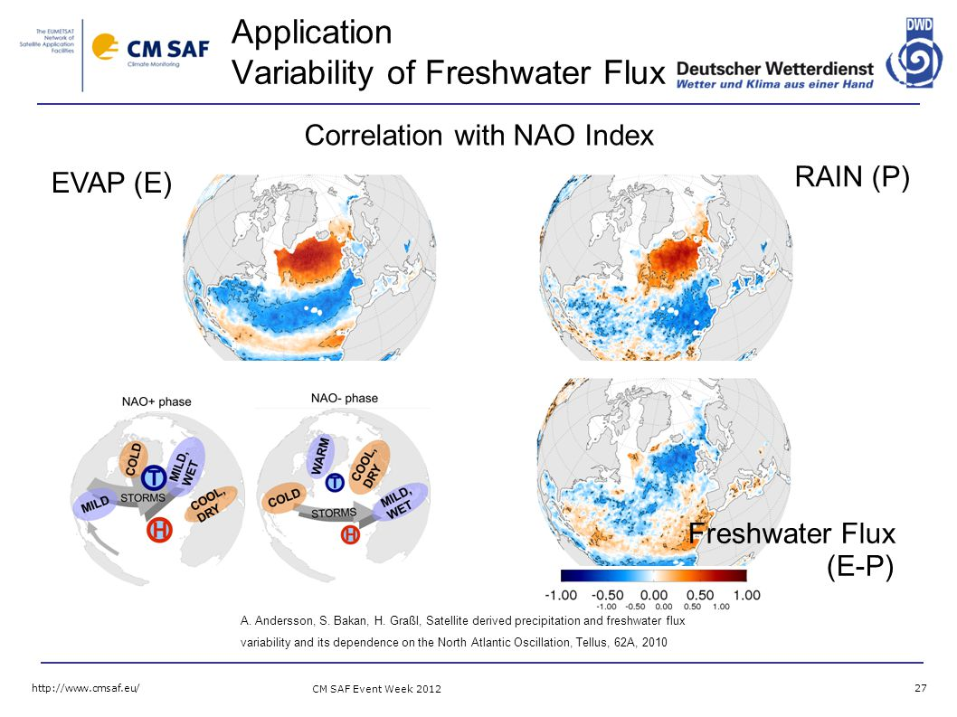 CM SAF Event Week Application Variability of Freshwater Flux Freshwater Flux (E-P) EVAP (E) Correlation with NAO Index A.