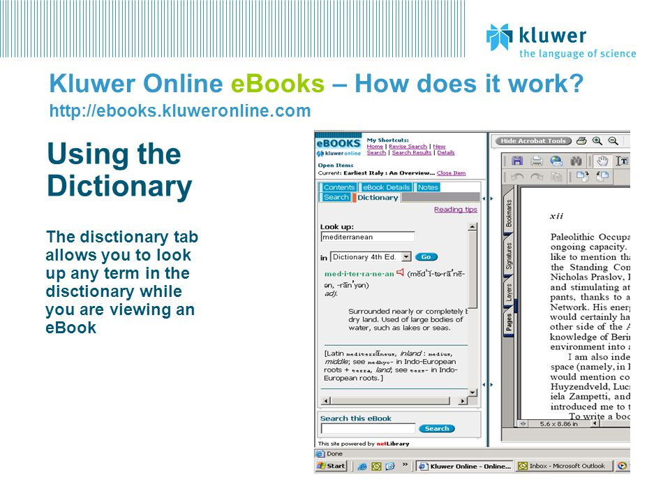 Kluwer Online eBooks – How does it work.