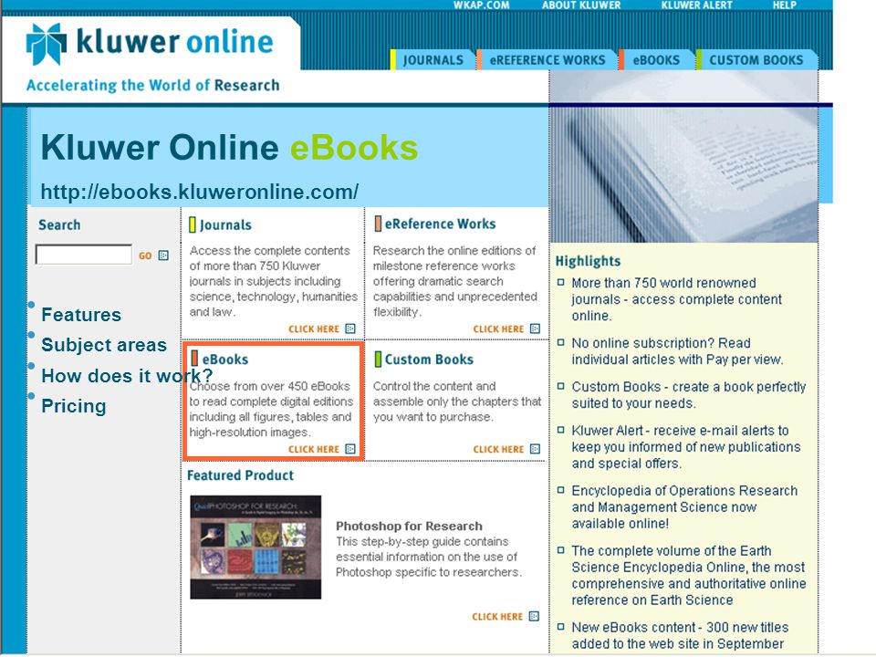 Kluwer Online eBooks   Features Subject areas How does it work.