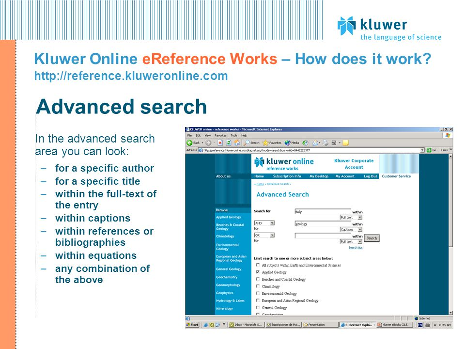 Kluwer Online eReference Works – How does it work.