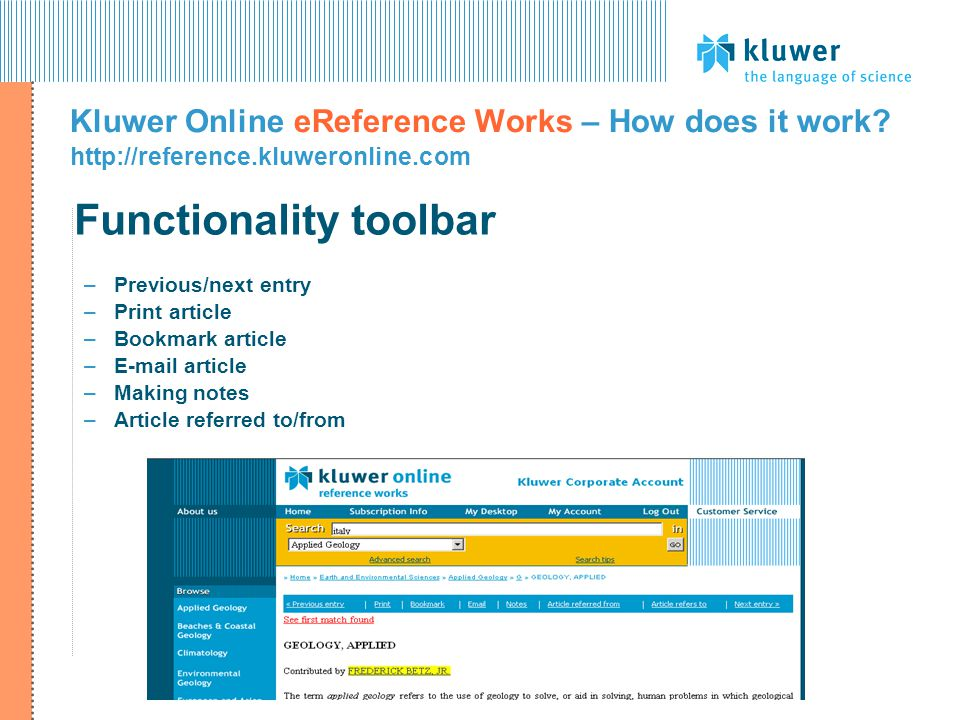 Functionality toolbar Kluwer Online eReference Works – How does it work.