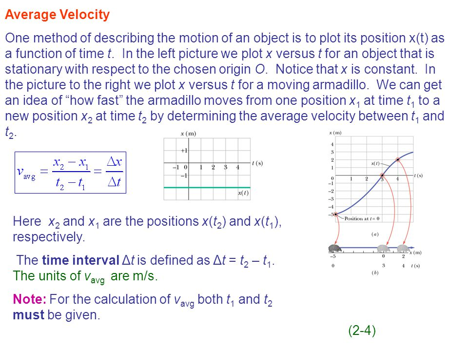 Average Velocity One method of describing the motion of an object is to plot its position x(t) as a function of time t.