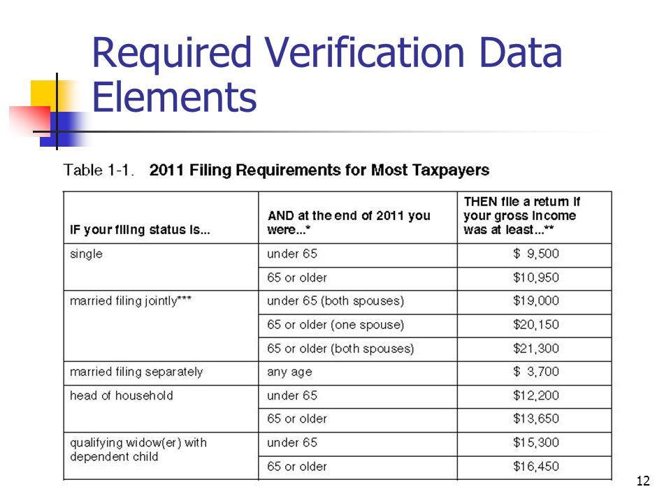 Required Verification Data Elements 12