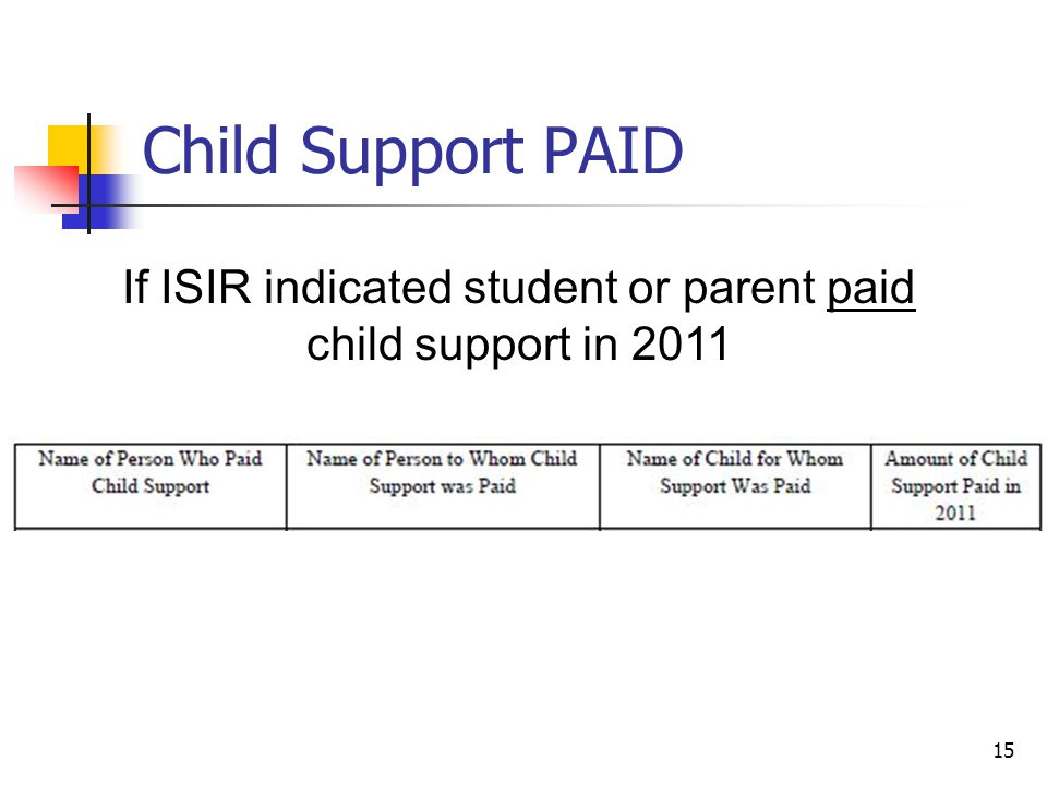 Child Support PAID 15 If ISIR indicated student or parent paid child support in 2011