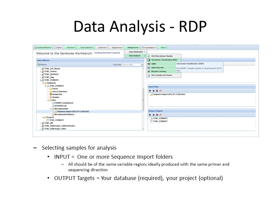 Data Analysis - RDP – Selecting samples for analysis INPUT = One or more Sequence Import folders – All should be of the same variable region; ideally produced with the same primer and sequencing direction OUTPUT Targets = Your database (required), your project (optional)