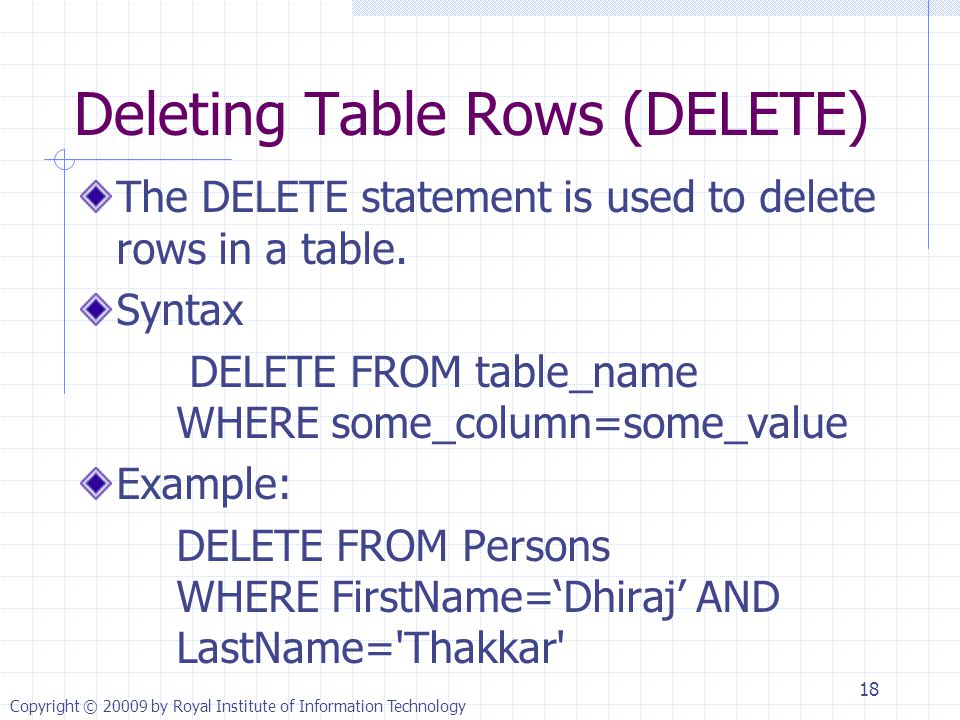 Deleting Table Rows (DELETE) The DELETE statement is used to delete rows in a table.