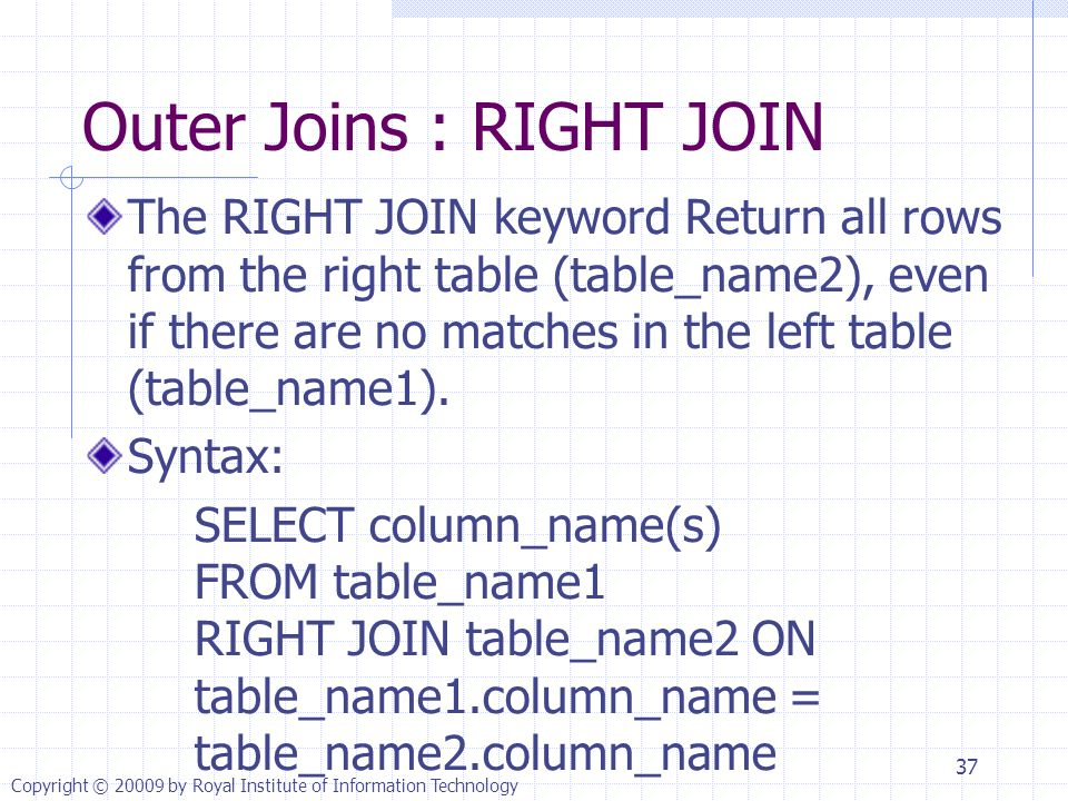Outer Joins : RIGHT JOIN The RIGHT JOIN keyword Return all rows from the right table (table_name2), even if there are no matches in the left table (table_name1).