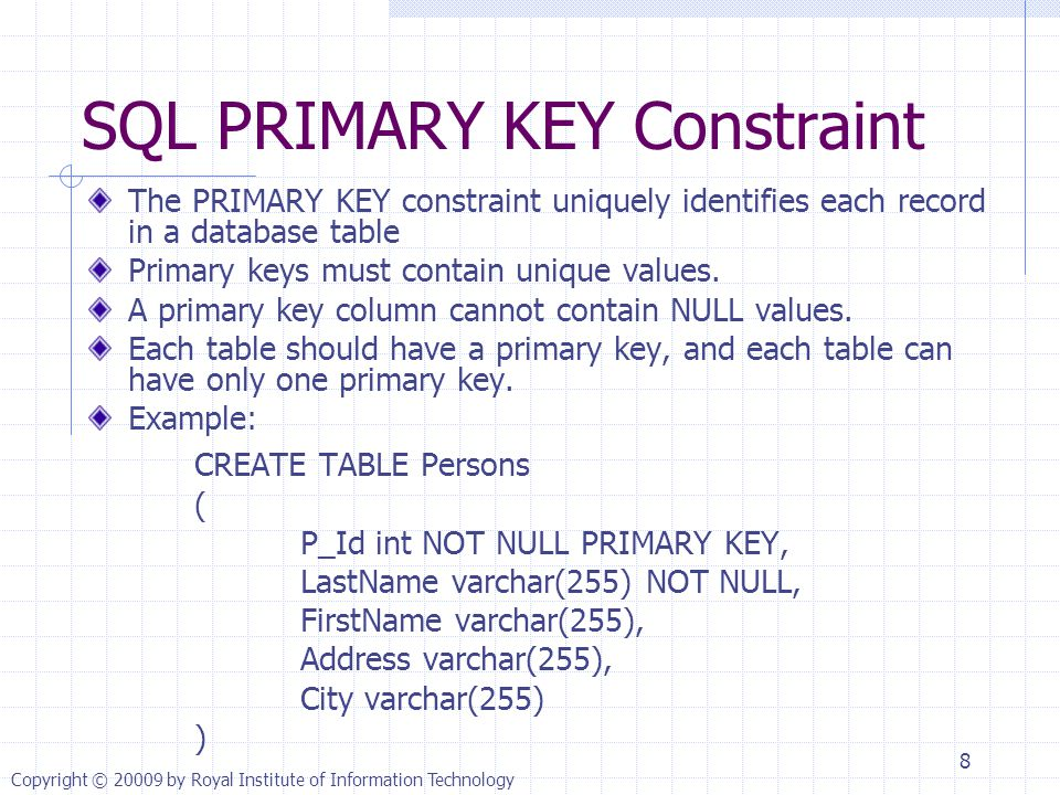 SQL PRIMARY KEY Constraint The PRIMARY KEY constraint uniquely identifies each record in a database table Primary keys must contain unique values.