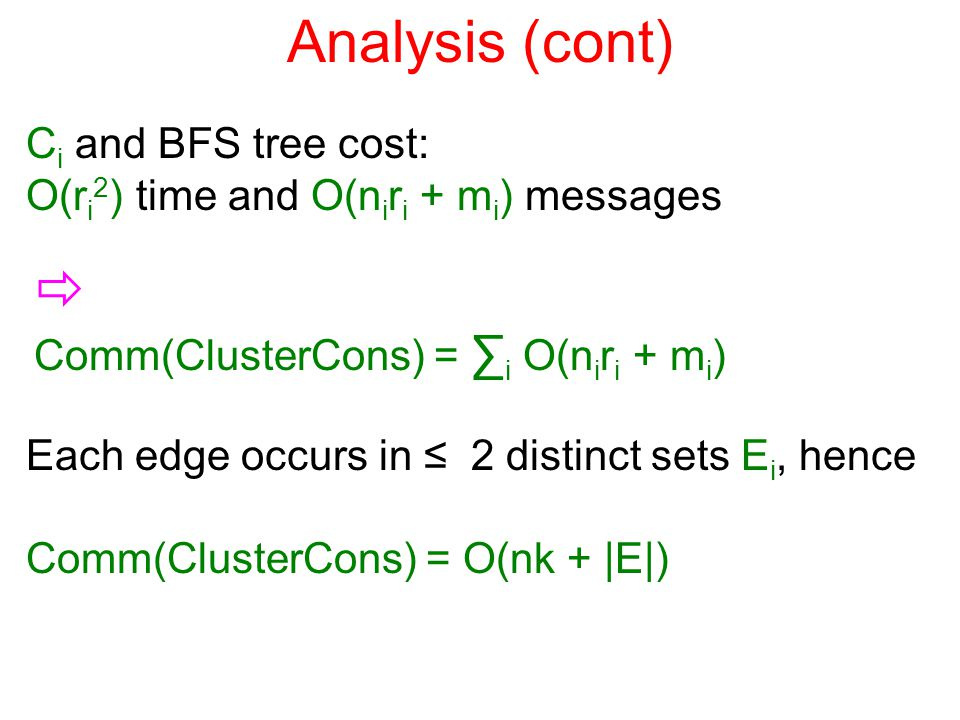 Analysis (cont) C i and BFS tree cost: O(r i 2 ) time and O(n i r i + m i ) messages  Comm(ClusterCons) = ∑ i O(n i r i + m i ) Each edge occurs in ≤ 2 distinct sets E i, hence Comm(ClusterCons) = O(nk + |E|)