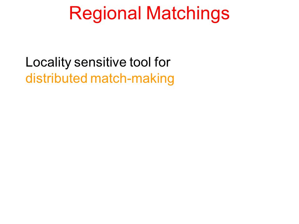 Regional Matchings Locality sensitive tool for distributed match-making