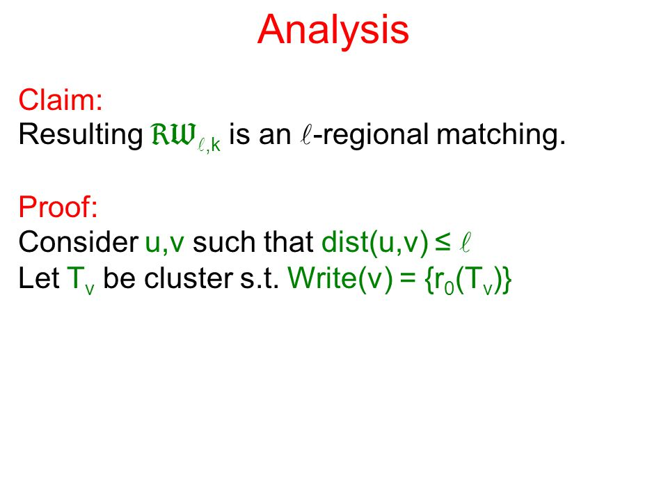 Analysis Claim: Resulting ,k is an -regional matching.