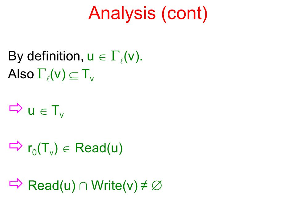 Analysis (cont) By definition, u   (v).