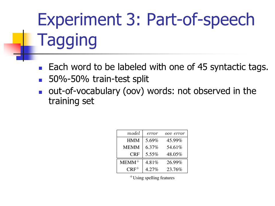 Experiment 3: Part-of-speech Tagging Each word to be labeled with one of 45 syntactic tags.