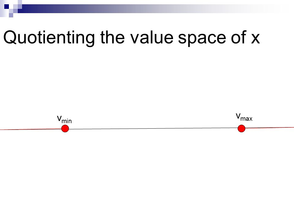 Quotienting the value space of x v min v max
