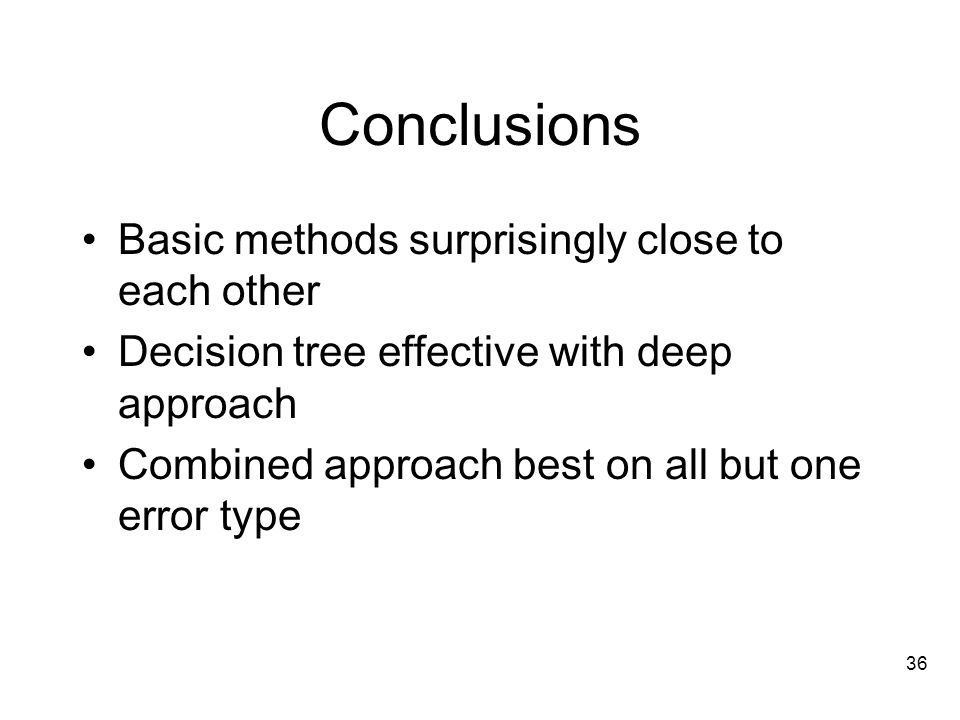 36 Conclusions Basic methods surprisingly close to each other Decision tree effective with deep approach Combined approach best on all but one error type