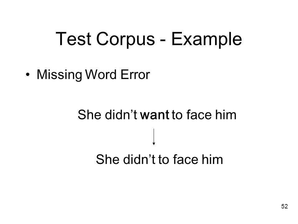 52 Test Corpus - Example Missing Word Error She didn't to face him She didn't want to face him