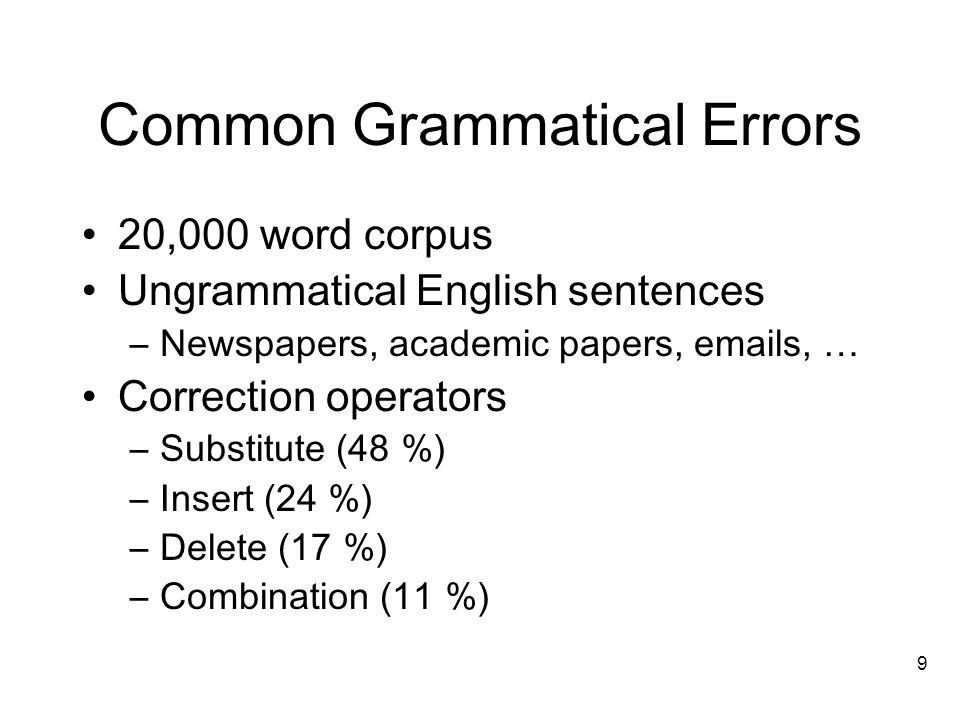 9 Common Grammatical Errors 20,000 word corpus Ungrammatical English sentences –Newspapers, academic papers,  s, … Correction operators –Substitute (48 %) –Insert (24 %) –Delete (17 %) –Combination (11 %)