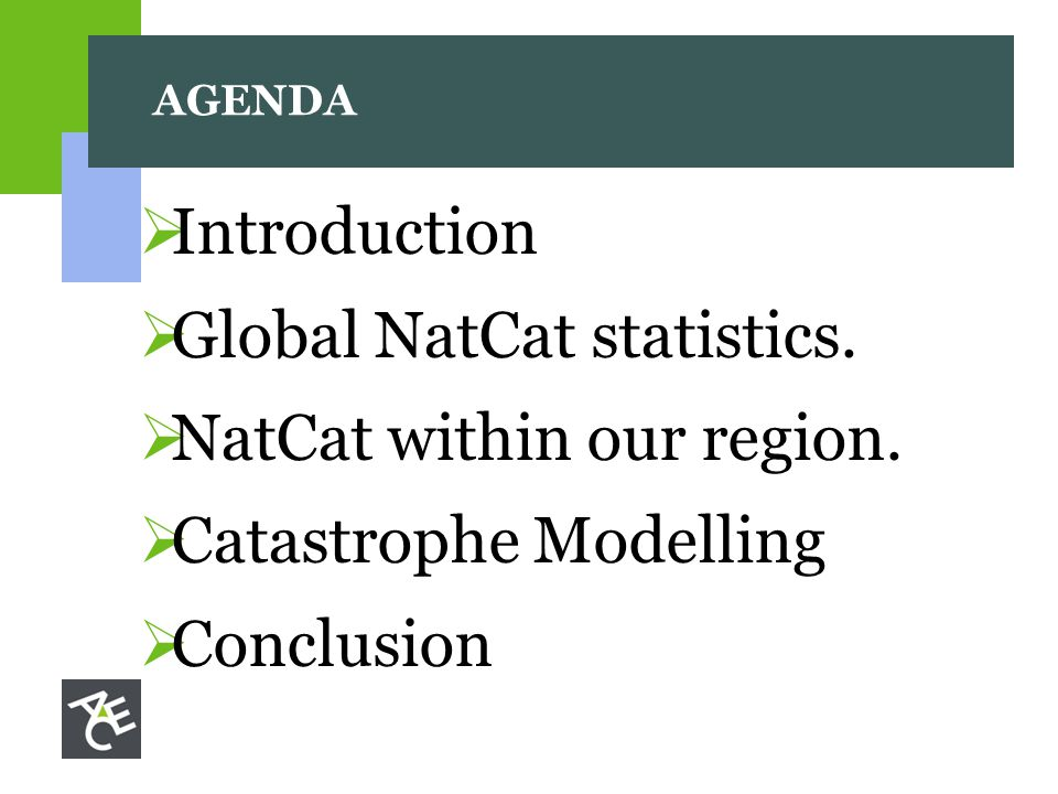 AGENDA  Introduction  Global NatCat statistics.  NatCat within our region.