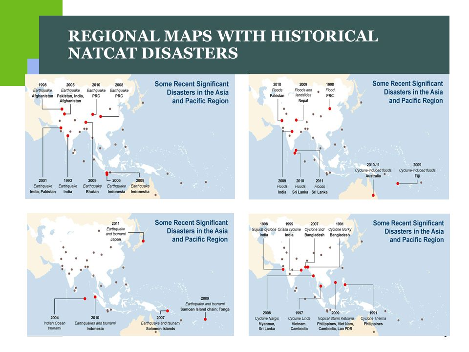8 REGIONAL MAPS WITH HISTORICAL NATCAT DISASTERS