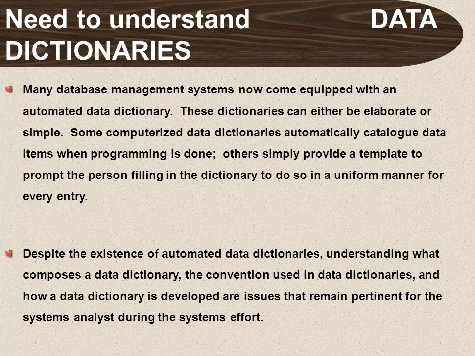 Data Dictionary. Data Dictionary - Introduction The Data