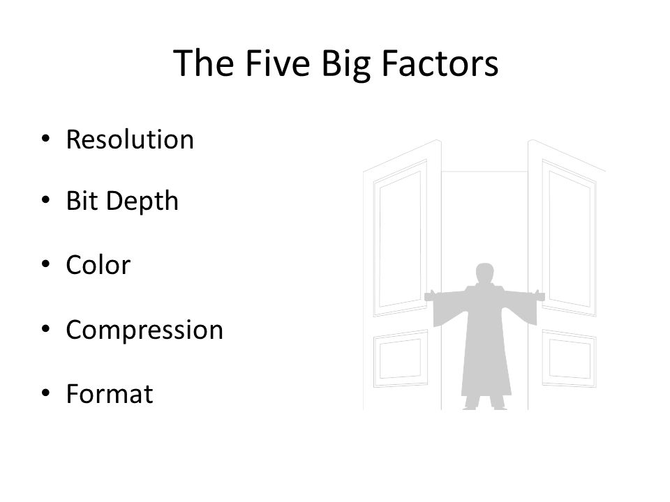 The Five Big Factors Resolution Bit Depth Color Compression Format