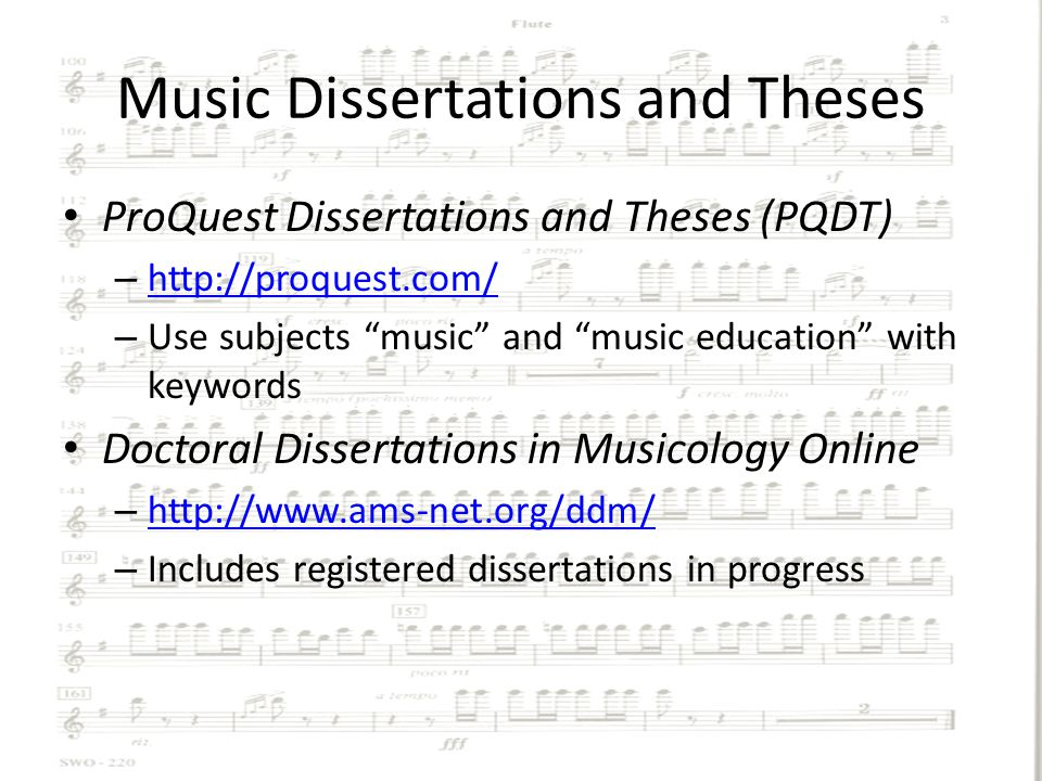 musicology dissertation database Doctoral dissertations in musicology graduate students at bangor university of our music history paper or master thesis musicology online database of writing art.