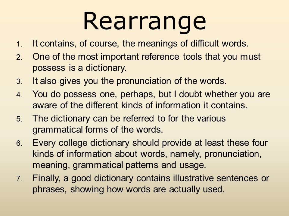 Rearrange 1. It contains, of course, the meanings of difficult words.