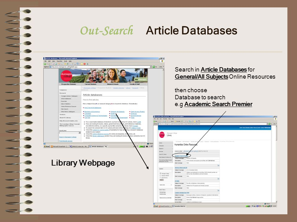 Out-Search Article Databases Search in Article Databases for General/All Subjects Online Resources then choose Database to search e.g Academic Search Premier Library Webpage