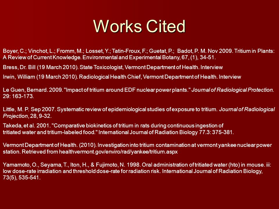 Works Cited Boyer, C.; Vinchot, L.; Fromm, M.; Losset, Y.; Tatin-Froux, F.; Guetat, P.; Badot, P.