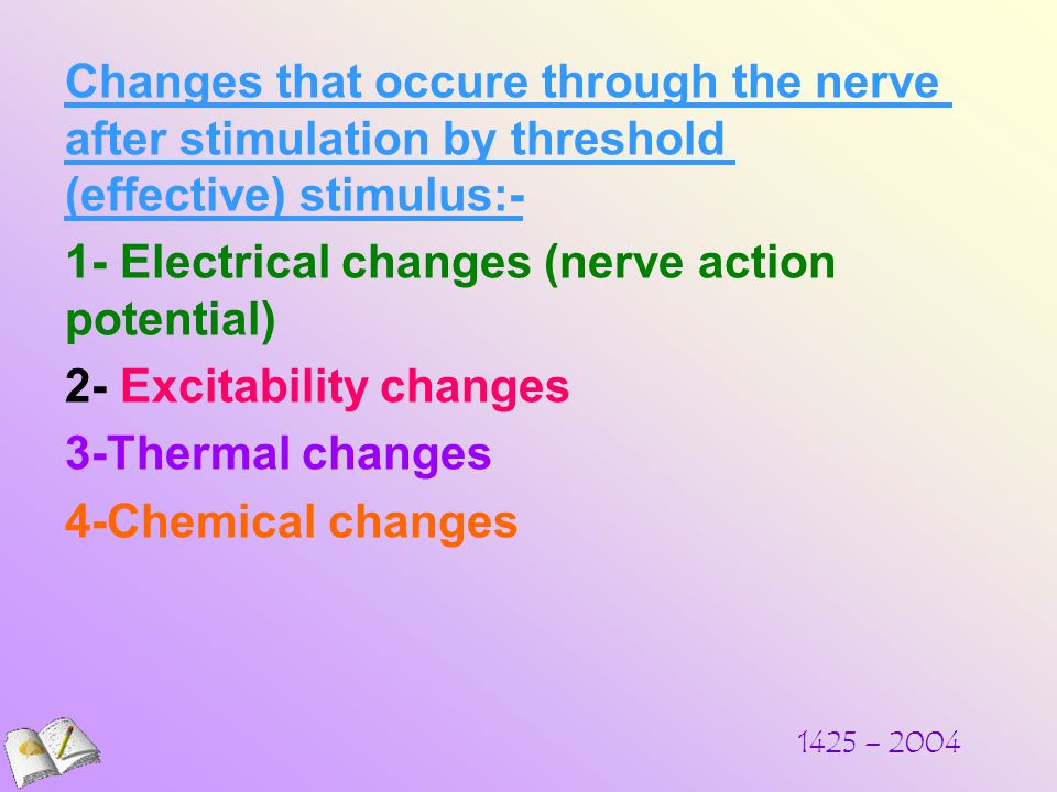 Changes that occure through the nerve after stimulation by threshold (effective) stimulus:- 1- Electrical changes (nerve action potential) 2- Excitability changes 3-Thermal changes 4-Chemical changes