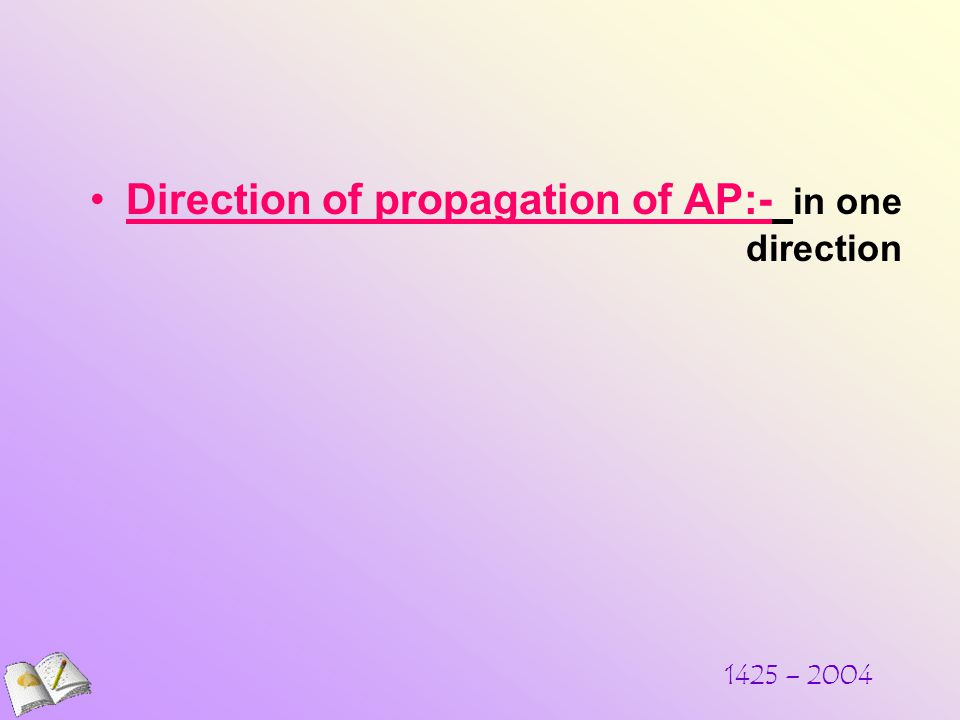Direction of propagation of AP:- in one direction 1425 – 2004