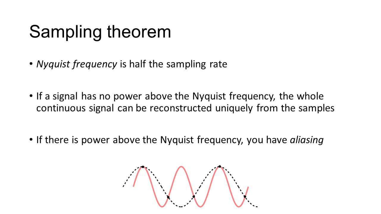 Sampling theorem Nyquist frequency is half the sampling rate If a signal has no power above the Nyquist frequency, the whole continuous signal can be reconstructed uniquely from the samples If there is power above the Nyquist frequency, you have aliasing